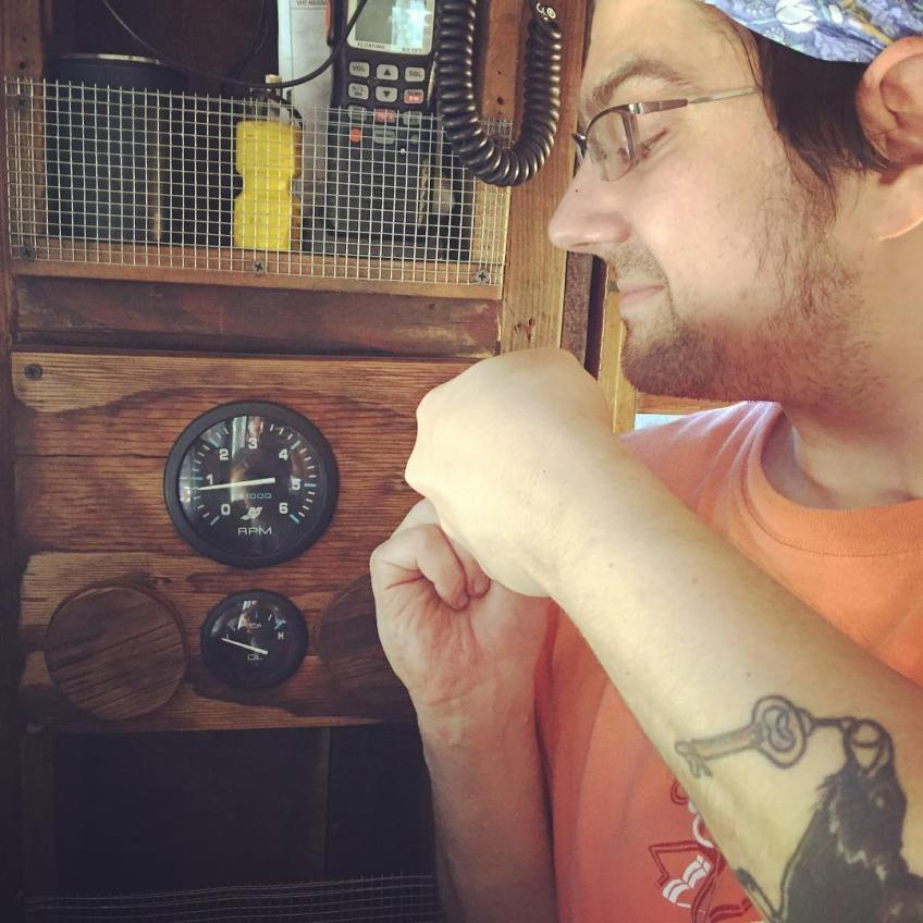 Jeremiah puts the finishing touches on the new instrument panel