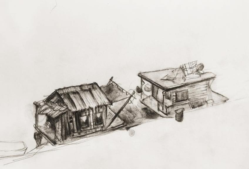 Benzy's drawing of the shantyboat docked at Stingrayz in Knight's Landing