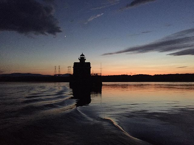 Benzy's photo of the Hudson Lighthouse as we were returning too late and too dark across the river from Athens