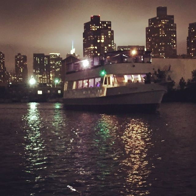 "As we are enjoying a nightcap, a party boat comes up Newtown Creek with what appears to be a boatload of Hasidim dancing to a Klezmer band which breaks into a tune ""Say hello to the shantyboat. Shantyboat! shantyboat!"" Until they were well out of hearing. WTF? Such a strange and wonderful welcome. #shantyboat #klezmer #music"