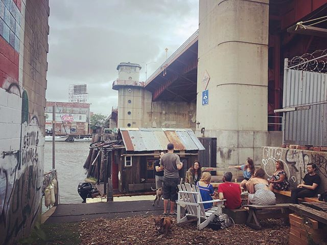 """Best welcome ever at the North Brooklyn Boat Club. Felt like meeting old friends. Benzy said it was are """"We Made It Point"""" #shantyboat #wemadeit @northbkboatclub #pbr"""