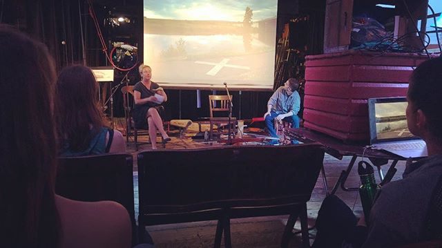 Marie Lorenz talks about her experience padding the entire 520 miles of the Erie Canal in 2016 joined by musician Chris  Bell at Red Hook's Waterfront Museum #eriecanal #brooklyn #redhook @lorenzmarie