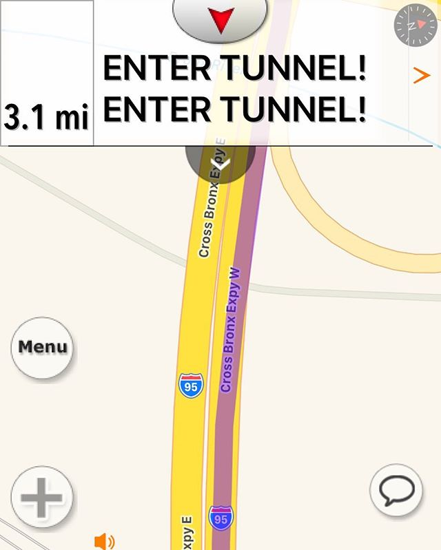 """Should I worry? By truckers now have app audio for this was """"in 3.1 miles, enter tunnel and enter tunnel. Then enter tunnel and enter tunnel"""" repeated every half mile. #DrivingInNYCWithA45FootLongRig"""