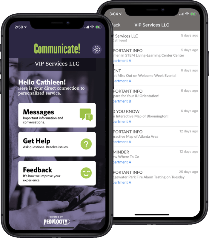 Communicate App Screen shots