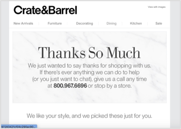 Crate&barrel thank you email