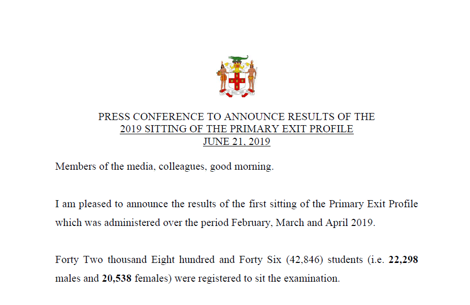 2019-06-21 Statement from PEP Exam Results Press Conference