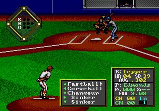 HardBall! Genesis  La pantalla de pitcheo y bateo