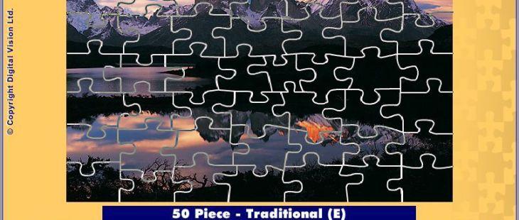 Jigsaw365 Windows  una vez que el número de piezas se ha decidido el jugador puede mover el deslizador inferior para cambiar el estilo. Esto muestra el estilo tradicional que es un puzzle de 50 pieza