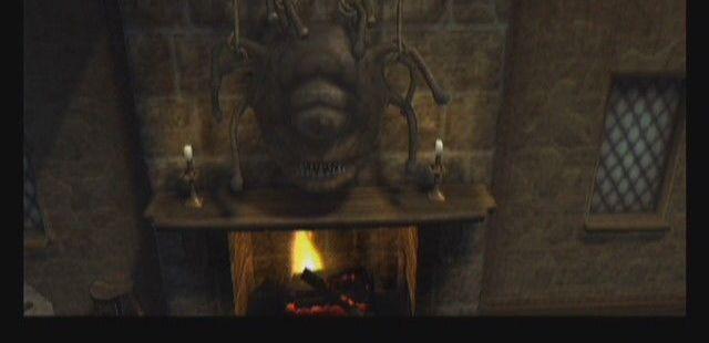 Baldur's Gate: Dark Alliance Xbox  Cuando entras en la taberna, notas que está lleno. criatura encima de la chimenea. ¡He aquí el espectador!