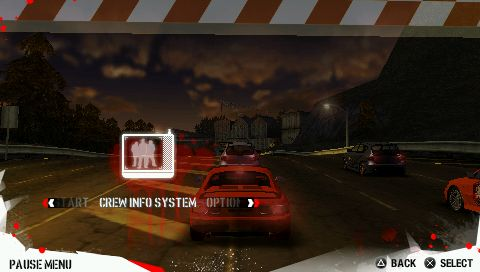 Need for Speed: Carbon - Own the City PSP  menú de pausa