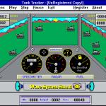 Tank Tracker Windows 3.x  Un juego en progreso.  A pesar de los diales, el tanque del jugador no se mueve. Aparecen tanques enemigos y el jugador debe hacer clic en ellos para dispararles