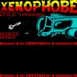 Xenophobe ZX Spectrum  el personaje seleccionado se transfiere desde el gran barco azul amistoso a la pequeña nave blanca en el pequeño platillo volador como cosa
