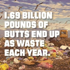 1.69 billion pounds of butts end up as waste each year. (PRNewsFoto/DoSomething.org)