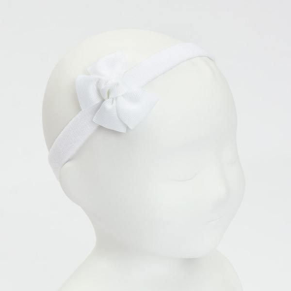 cinta de pelo bebe con lazo blanco