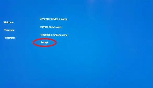 OSMC select hostname