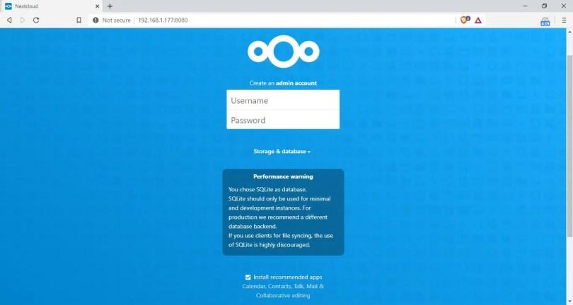 nextcloud setup page