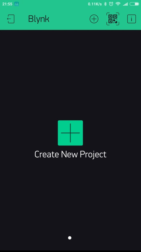 Blynk app create project button