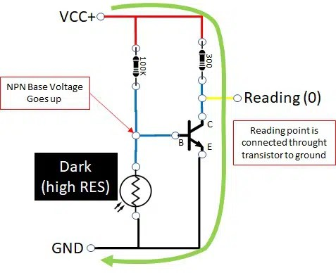 photoresistor circuit on dark