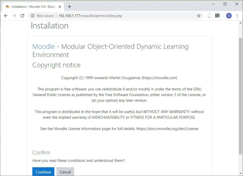 Moodle web installation license agreement