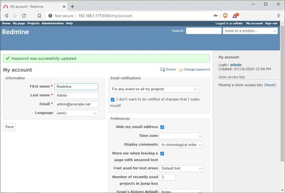 Raspberry PI Redmine admin first logged in