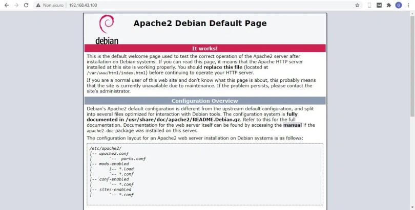 LAN access apache default page