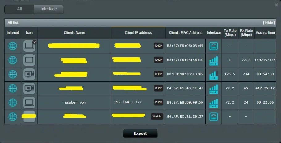 ASUS DSL-AC68U client list raspberry pi