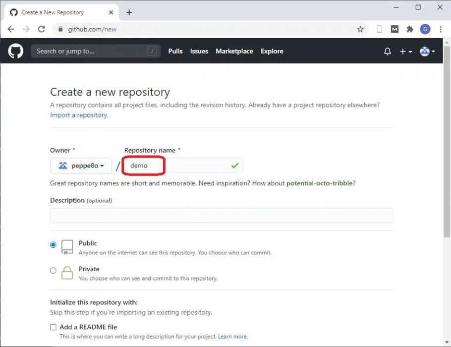 GitHub create new Repository