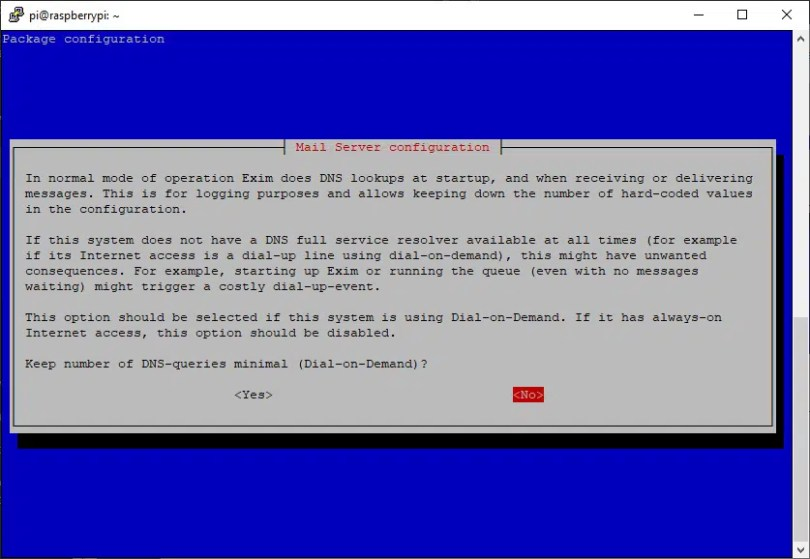 exim configuration DNS queries
