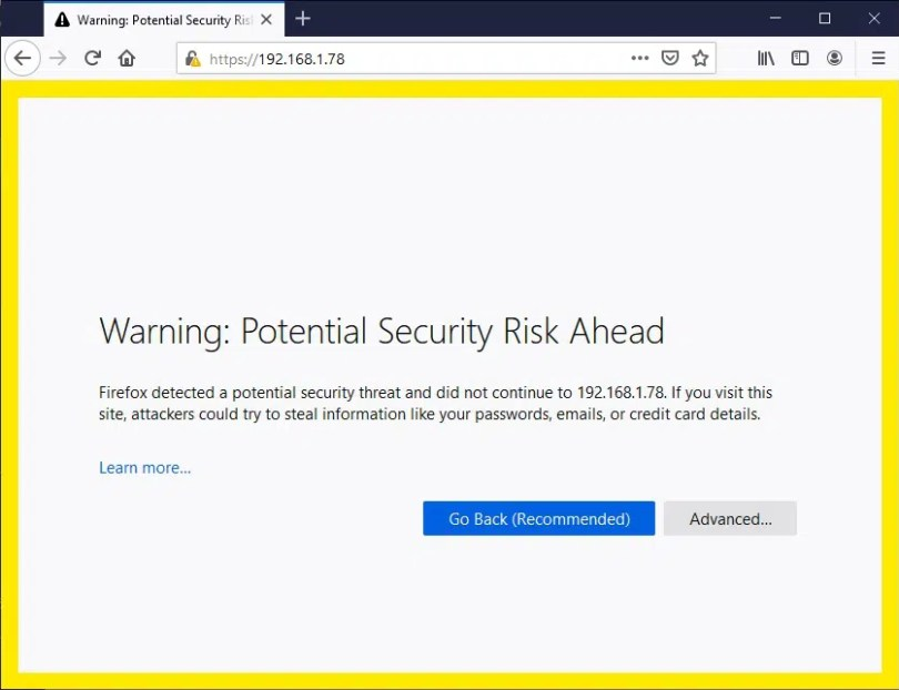 raspberry pi zero w https self signed warning