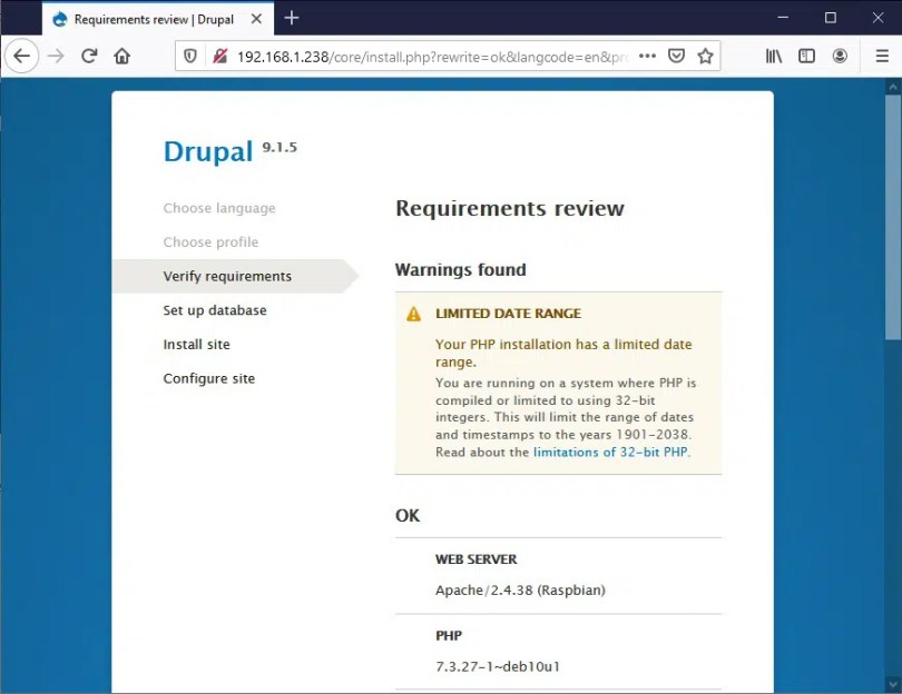 Raspberry PI Drupal install - 03 requirements check