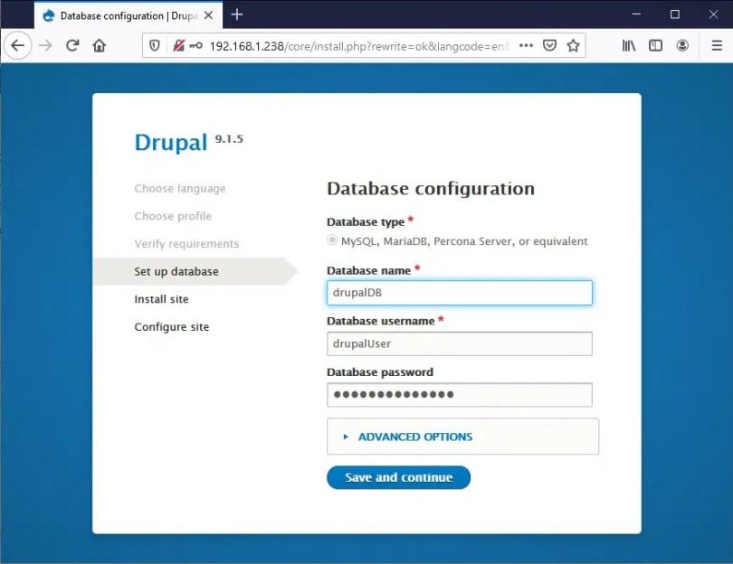 Raspberry PI Drupal install - 04 database settings