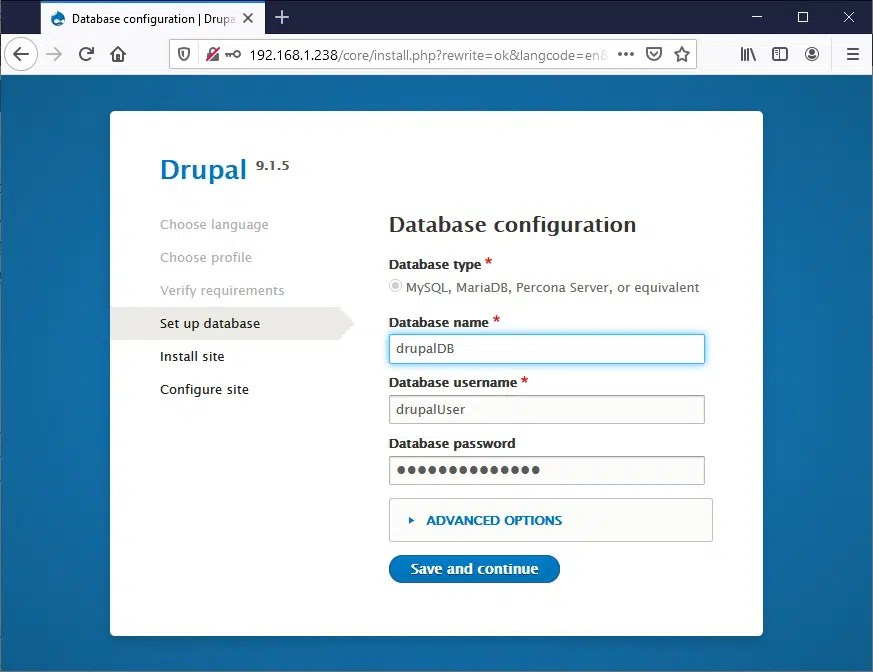 Raspberry PI Drupal install - 04 database settings