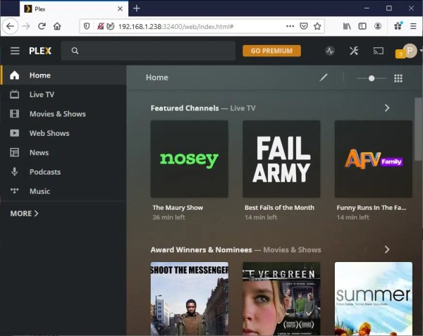 Raspberry PI Plex Server home page