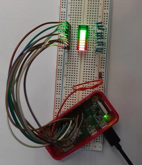 Raspberry PI 10 segment led bar complete