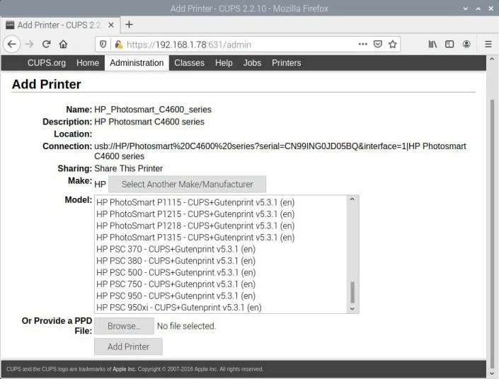 Raspberry PI CUPS Add HP Photosmart C4680 - select driver