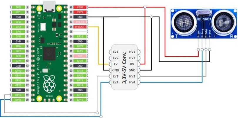 Raspberry pi pico hc-sr04 wiring diagram