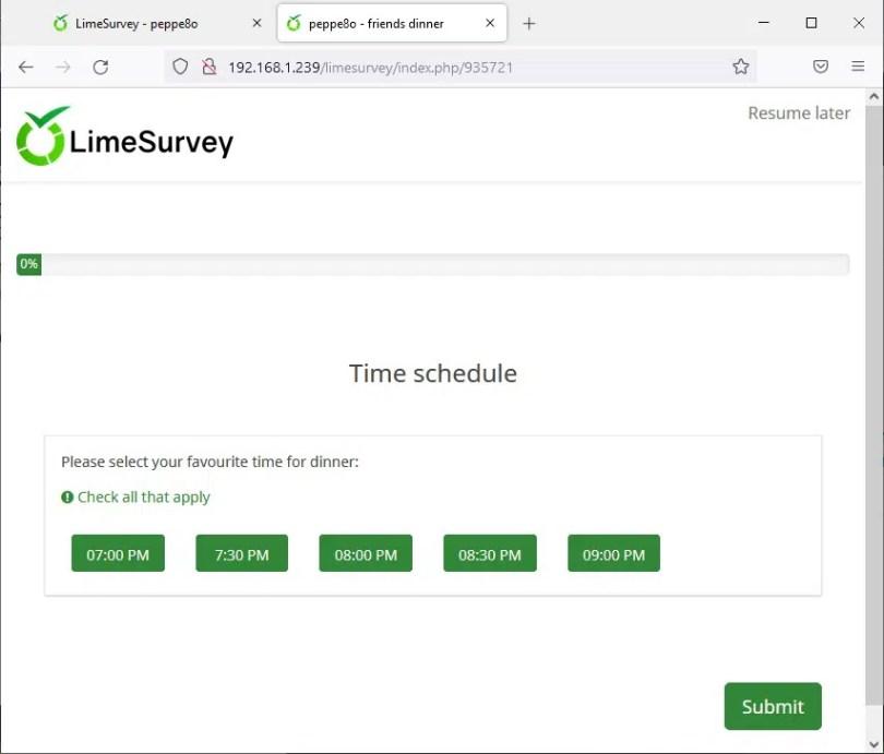 Raspberry PI limesurvey survey example