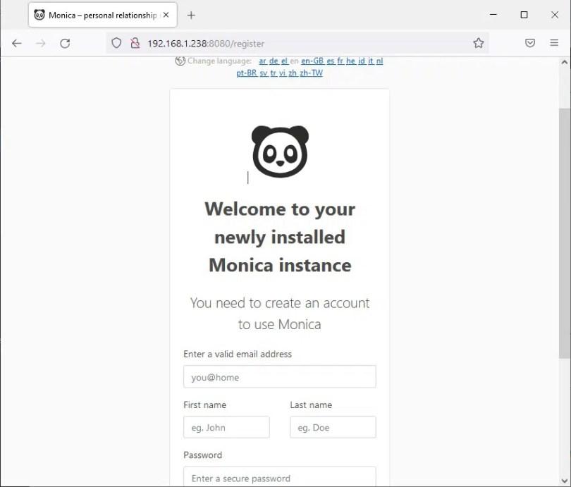 Raspberry PI Monica CRM new installation admin registration