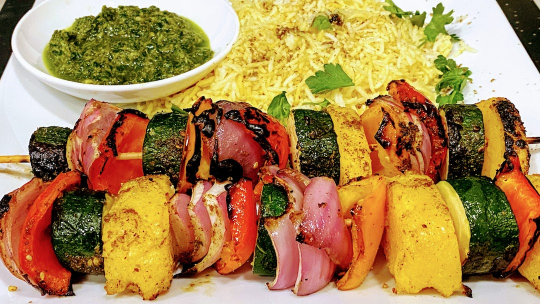 VEGETABLE & POLENTA SKEWERS with CHERMOULA