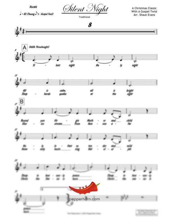 Silent Night (PepperHorn Standards) 4 Horn Alto