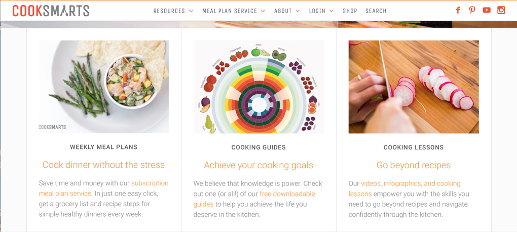 Screenshot of Cooksmarts webpage