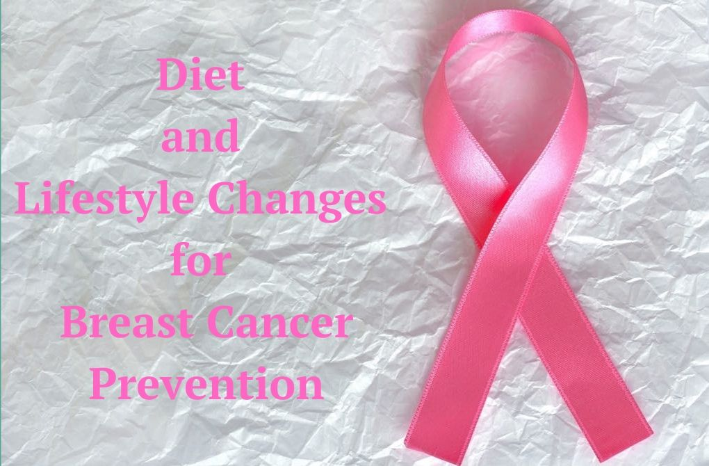 "Image of pink ribbon beside text that says, ""Diet and Lifestyle Changes for Breast Cancer Prevention"""