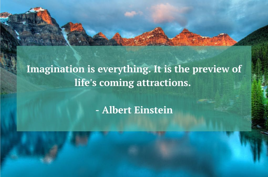 Photo of Banff National Park in background of Albert Einstein quote as an example of mental benefits of planning a vacation.
