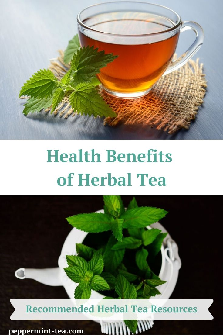 Photo of cup of peppermint tea sitting beside peppermint leaves and mint leaves in a tea pot as an example of the health benefits of herbal tea.