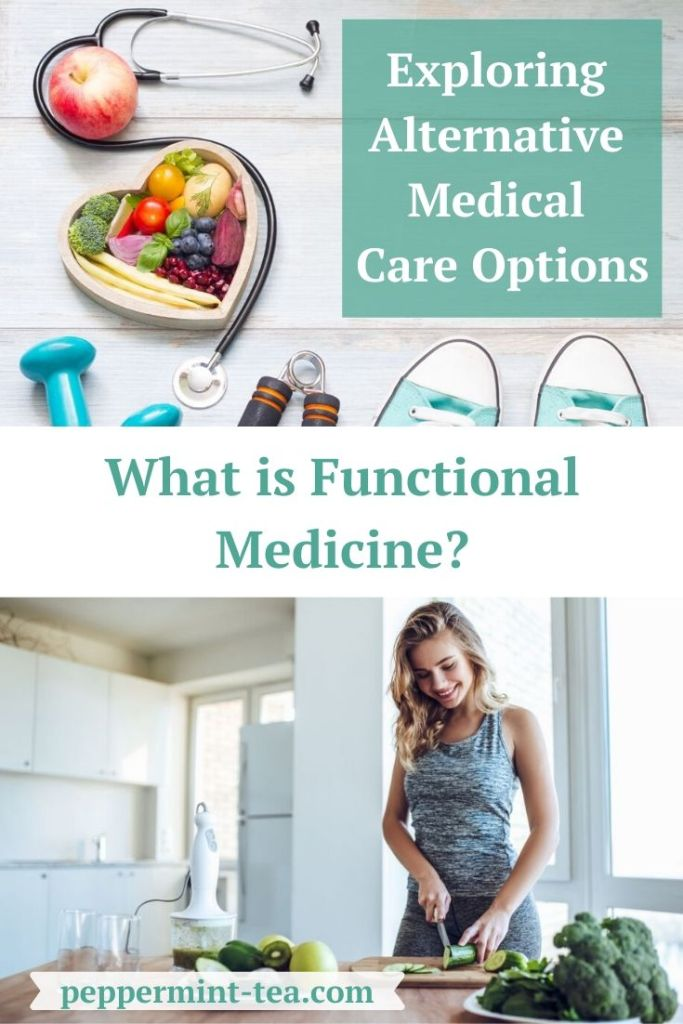 Photos of a stethoscope wrapped around healthy food as well as weights and tennis shoes plus a photo of a woman cutting up healthy food as an example of functional medicine.