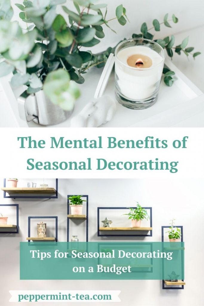 Photos of faux greenery in a cup near a burning candle and a wall display as examples of seasonal decorating