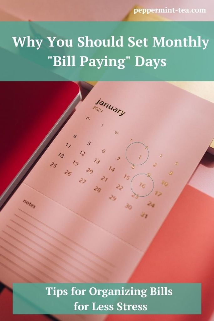 "Image of calendar page with two ""bill paying days"" circled."