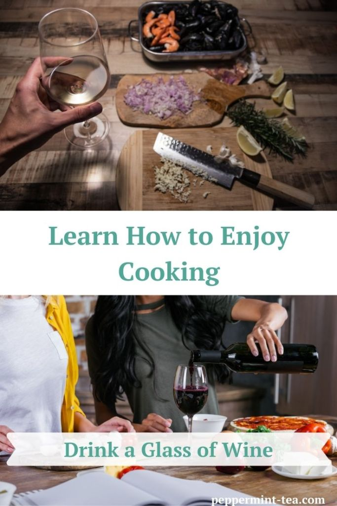Photo of hand holding glass of white wine while cooking and photo of two women cooking with one of the women pouring a glass of wine.