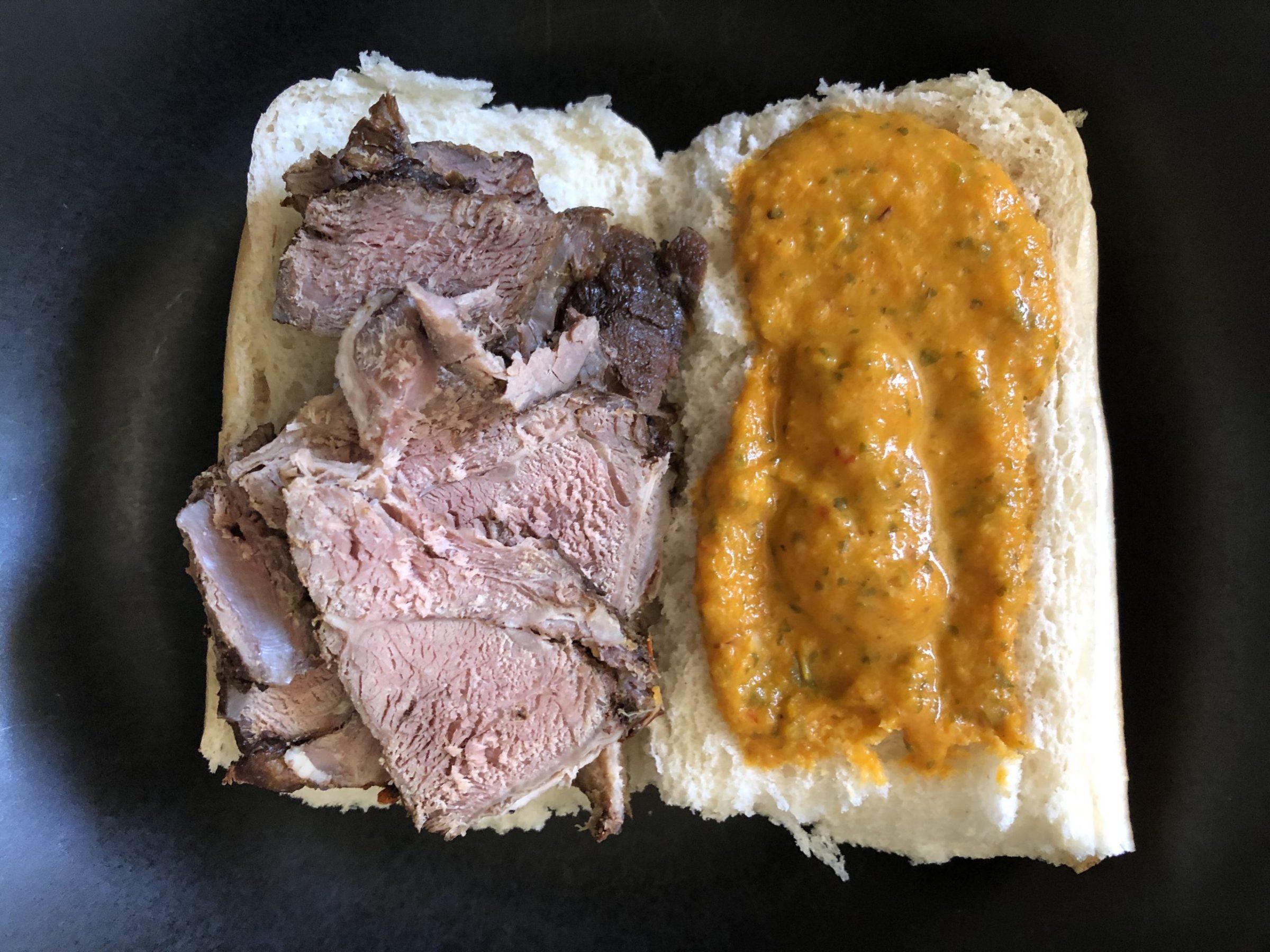 Roast beef sandwich with yellow pepper/cilantro salsa