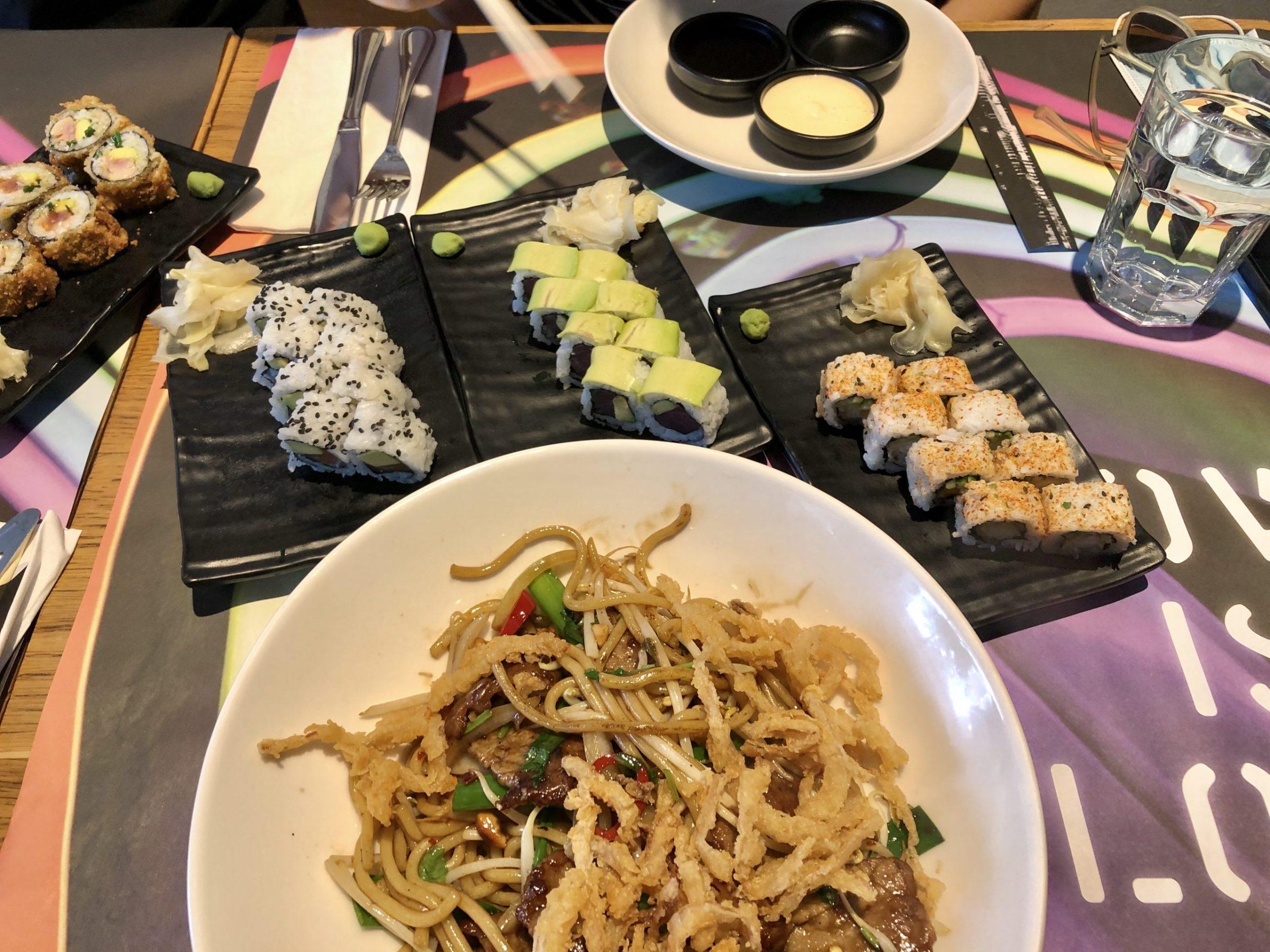 Szechuan Beef Noodle and Sushi in Giraffe Restaurant, Haifa